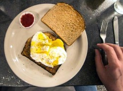 Poached egg on toast at the Keys Cafe and Bakery in the Foshay Tower, Minneapolis