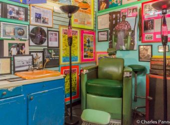 Wade Walden's barber chair in the Rock and Blues Museum