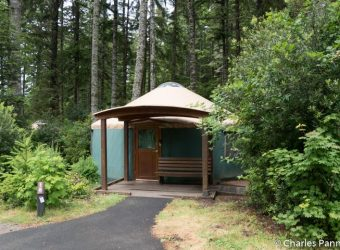 Entrance to Yurt 16 at Umpqua Lighthouse State Park