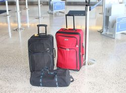 Suitcases waiting to be loaded on an airplane