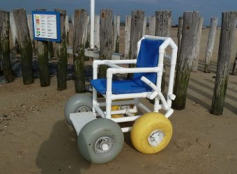 Photo of a beach wheelchair suitable for seawater