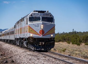 Grand Canyon Railway train in route from Williams, Arizona to Grand Canyon National Park