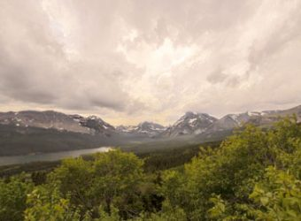 Windshield view of Lake McDonald on the Going-to-the-Sun Road at Glacier National Park