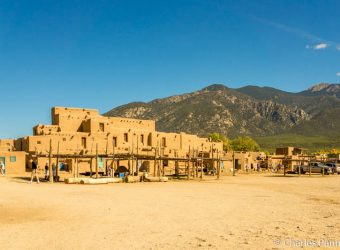 Taos Pueblo at the base of Sangre de Cristo Mountains