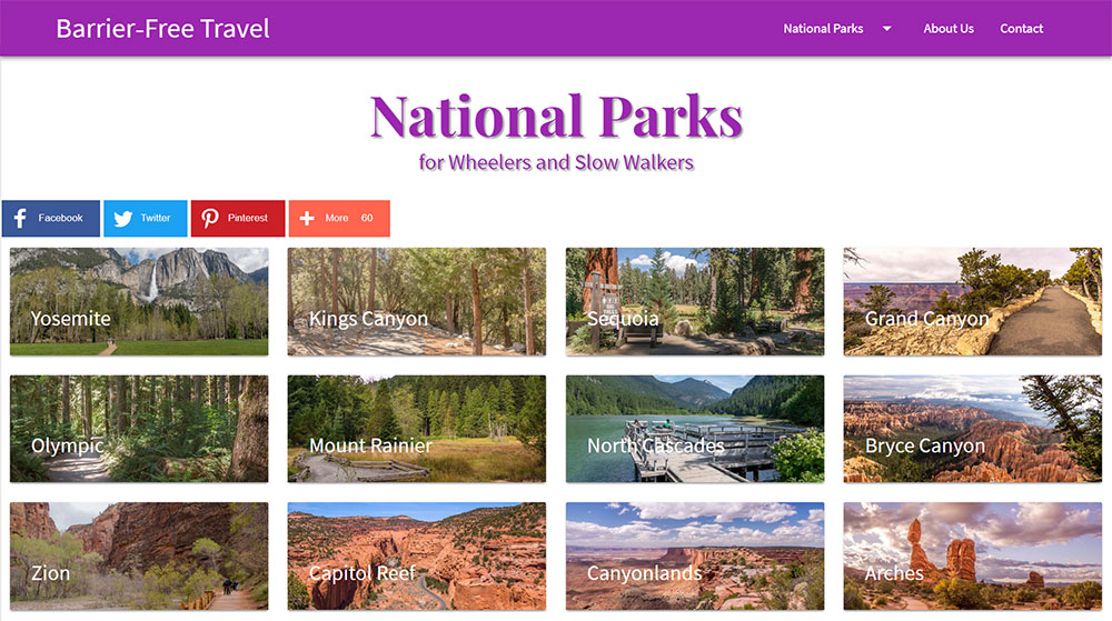 Screen shot of Barrier-Free National Parks website